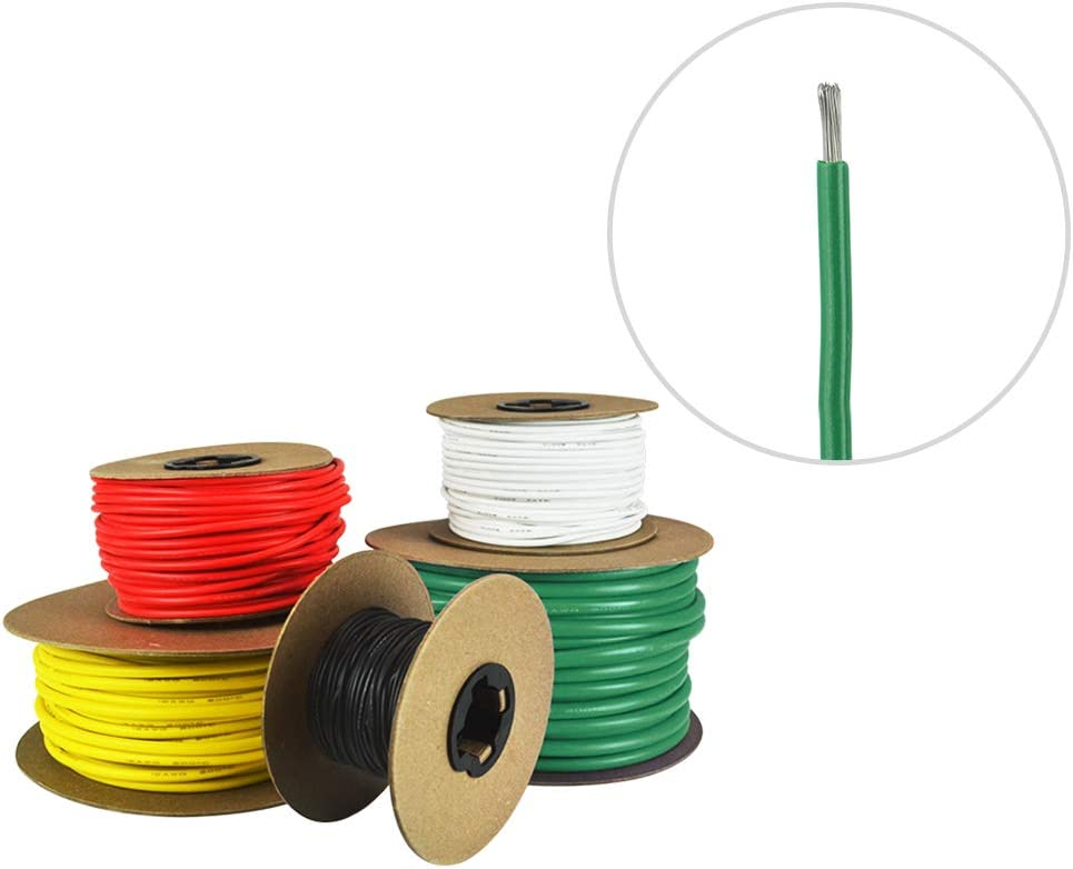 14 AWG Marine Wire -Tinned Copper Primary Boat Cable Made in The USA Available in Black and White Red Yellow Green
