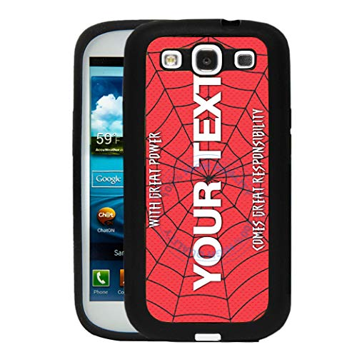 BleuReign Personalized Custom Name Superhero Series: with Great Power Comes Great Responsibility Spider Web Rubber Phone Case for Samsung Galaxy - S3 Galaxy Spiderman Samsung Case