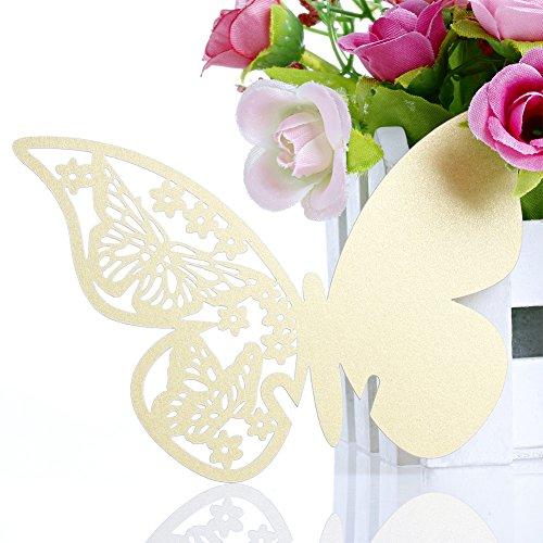 50 Pcs Butterfly Wine Glass Paper Place Cards White - 7
