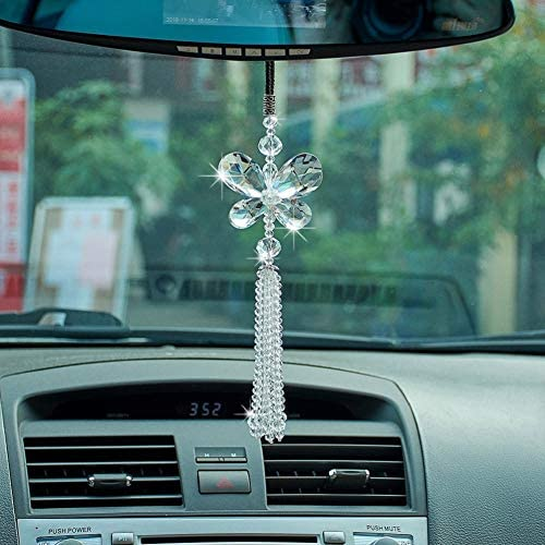 ATMOMO Lucky Star Car Rear View Mirror Pendant Car Hanging Ornament Lucky Car Charm White