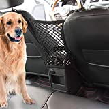 Car Dog Barrier Vehicle Backseat Mesh Universal Obstacle Stretchable Front Seat Pet Barrier Net Organizer Auto Backseat Storage Prevent Disturb Stopper from Children and Dogs for Car SUV Truck(Black)