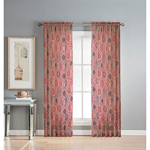 Window Elements Olina Printed Sheer Extra Wide 54 x 84 in. Grommet Curtain Panel, Red (Window Covering Ideas)