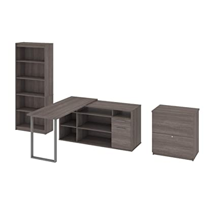 Amazon Com Bestar L Shaped Desk With Lateral File And