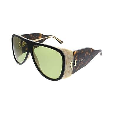 475be1e356 Amazon.com  Gucci GG0149S Sunglasses 001 Black Havana   Green Lens ...