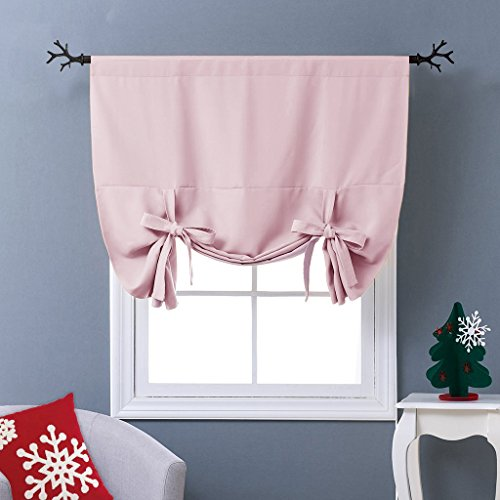 Old Rose Nursery (NICETOWN Thermal Insulated Blackout Curtain in Baby Pink - Tie Up Shade for Kitchen Window (Rod Pocket Panel, 46