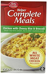 Betty Crocker Helper complete Meals, Chicken with Cheesy Rice and Broccoli, 24.2-Ounce Boxes (Pack of 6 )