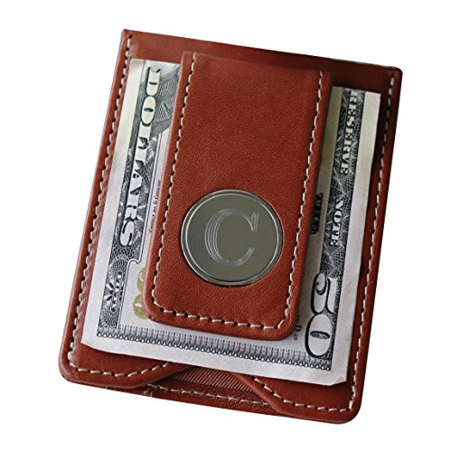 Engraved Personalized Brown Leather Money Clip and Credit Card Holder Wallet Combo - Groomsmen Fathers Day Gift ()