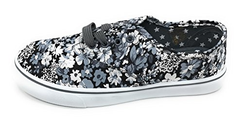 Blue Berry EASY21 Women Canvas Lace Up Shoe Fashion Casual Comfort Sneakers Gray Floral je1yfRgdp