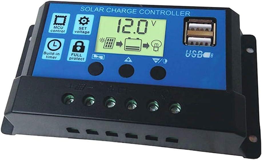 fish 10A / 20A / 30A de la célula Solar de la Carga Controlador 12V 24V del regulador del Panel Solar Inicio de la batería del Cargador USB LCD Dual,Black,30A