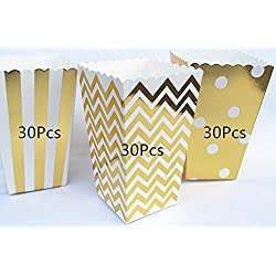 ASIBT 90Pcs Popcorn Boxes,Popcorn Favor Boxes Cardboard Candy Container,Gold Wave Pattern(30pcs), Stripe(30pcs) and Polka Dot(30pcs)