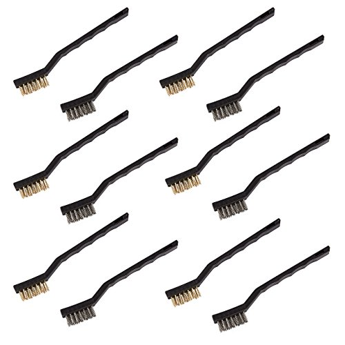 Pack of 12 Mini Wire Brush Set - Stainless Steel and Brass Brushes for Automotive, Cleaning, Detailing, Welding, 6.5 x 0.8 x 0.5 Inches