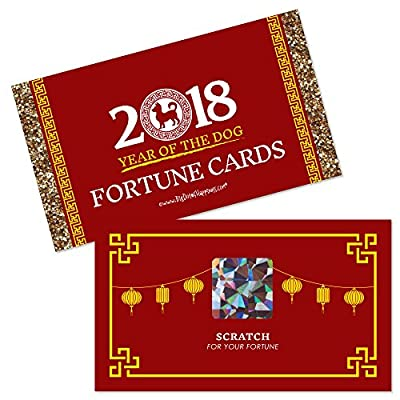 Chinese New Year - 2018 Year of the Dog Party Scratch Off Fortune Cards - 22 Count