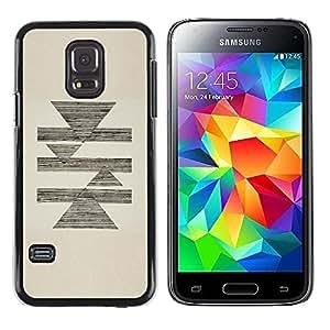 FECELL CITY // Duro Aluminio Pegatina PC Caso decorativo Funda Carcasa de Protección para Samsung Galaxy S5 Mini, SM-G800, NOT S5 REGULAR! // Abstract Pencil Sketch Triangle Pyramid Beige