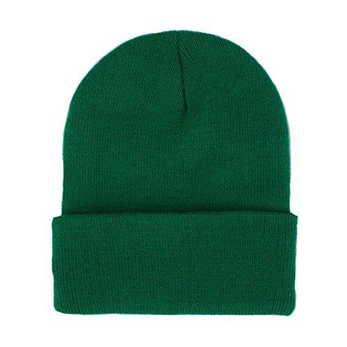 Skull Mask With Dreadlocks (CANCA Unisex Cuff Warm Winter Hat Knit Plain Skull Beanie Toboggan Knit Hat/Cap (Green))