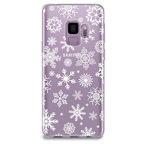CasesByLorraine Samsung S9 Case, Christmas Snowflakes Clear Transparent Case Xmas Holiday TPU Soft Gel Protective Cover for Samsung Galaxy S9 (P65)