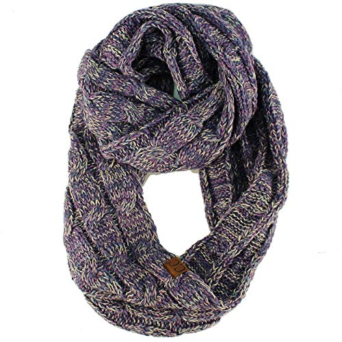 Quad Soft Chunky Warm Pullover Knit Long Infinity Hood Cowl Loop Scarf