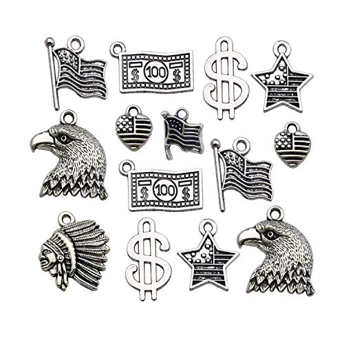 80pcs America Theme Charms Collection Craft Supplies Antique Silver Native American Flag Dollar Charm 4th of July USA Patriot Charms Pendants for Jewelry Making Crafting Findings M261 ()