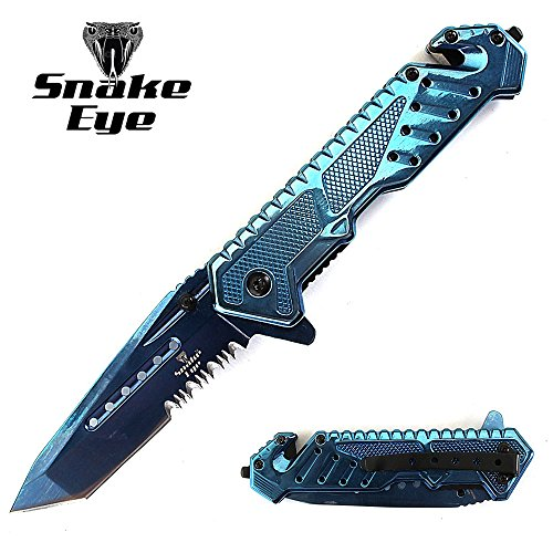 (Snake Eye Tactical Heavy Duty Mirror Finish Rescue Style Assisted Open Folding Pocket Knife Outdoors Hunting Camping Fishing (Blue) )