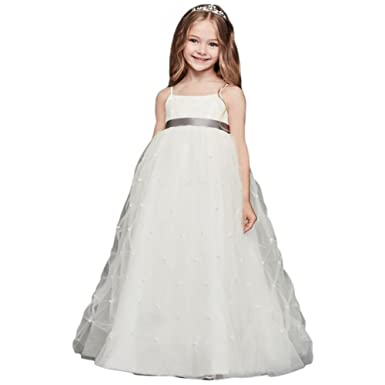 bcc9947b9416 David s Bridal Tulle Flower Girl Communion Dress With Pearl Pick-UPS ...