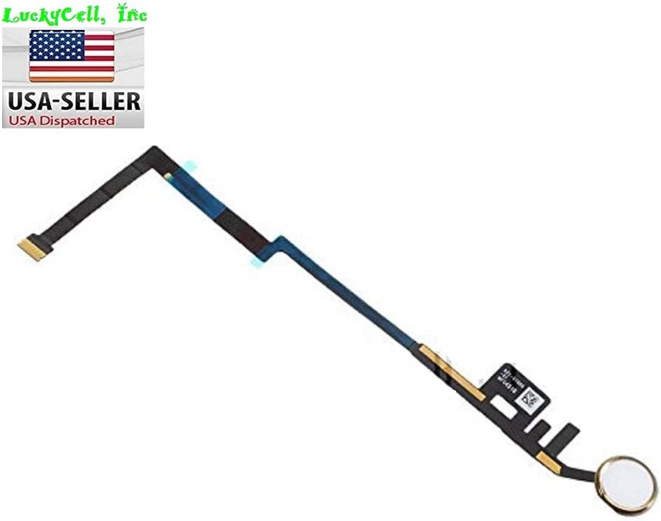 """BESTeck_iPad 5th Generation 9.7"""" 2017 Version. Home Button Module Key Button Flex Cable Ribbon Connector Menu Key A1822 A1823 Replacement Part (White (Gold Ring))"""