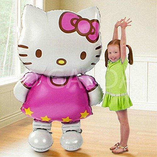 Hello Kitty - Riesenluftballon XXL für Geburtstage und Feste, vorbereitet für Helium oder Luft, 110 x 65cm.