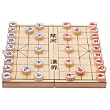 VT BigHome Portable 2929cm Foldable Wooden Chinese Chess Checkers Pieces Set Plastic Folding Chess with Board Family Game