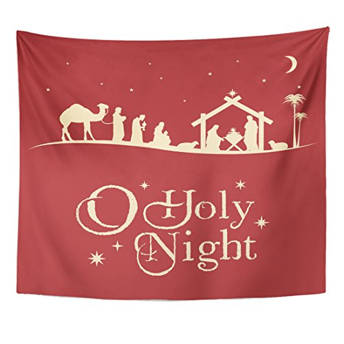 VaryHome Tapestry Holy Christmas Nativity Scene Silhouette Family Home Decor Wall Hanging for Living Room Bedroom Dorm 50x60 Inches by VaryHome
