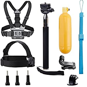 VVHOOY Universal Action Camera Accessories Bundle Kits Head Strap + Chest Belt Strap +Handle Monopod +Floating Hand Grip for Underwater Waterproof Action Camera Accessories