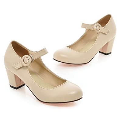 Women's Round Toe Ankle Strap Buckle Chunky Heel Low Cut Pumps Shoes