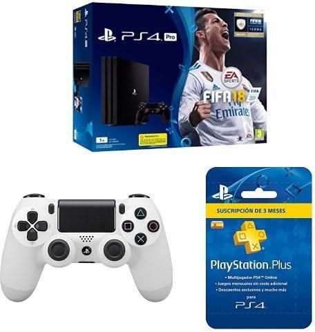 PlayStation 4 Pro (PS4) - Consola de 1 TB + FIFA 18 + Sony - Dualshock 4 V2 Mando Inalámbrico, Color Glacier White (PS4) + Sony - PSN Plus Tarjeta 90 Días - Reedición (PlayStation 4): Amazon.es: Videojuegos
