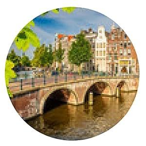 alfombrilla de ratón paisaje urbano de Amsterdam - ronda - 20cm