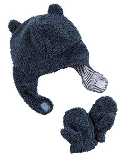 Carter's Baby Boys' Pilot Velboa Hat & Mitten Set (12-24 Months, Navy)