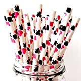 Free DHL 500 pcs Hot Pink Casino Paper Straws Bulk, Queen of Hearts Playing Cards Paper Drinking Straws for Beverage, Party, Wedding, Birthday, Picnic, BBQ, Poker Night Mason Jar Straws