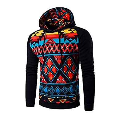 HANYI Fashion Men Bohemia Retro Long Sleeve Hoodie Hooded Sweatshirt