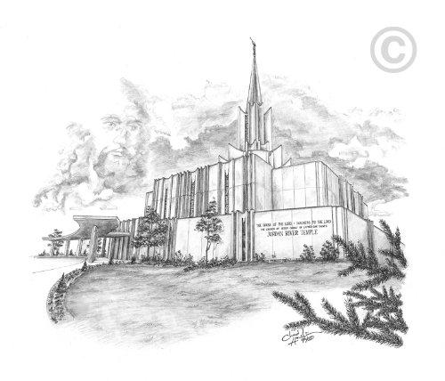 LDS Jordan River Utah Temple - Chad Hawkins Temple Sketch - 16x20 Print