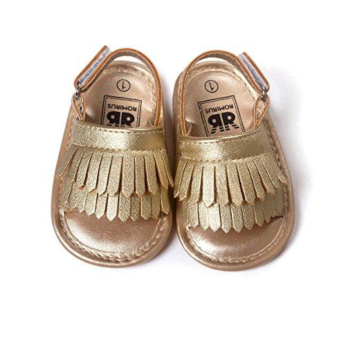 Vanbuy Baby Boys Girls Tassels Sandals Infant Soft Rubber Sole Moccasins Toddler Crib Anti Slip Shoes WB04-Gold-M - Image 4
