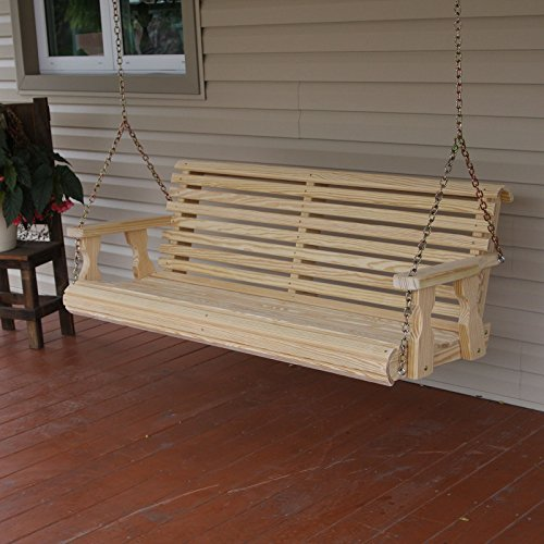 Amish Porch - Amish Heavy Duty 800 Lb Roll Back 5ft. Treated Porch Swing