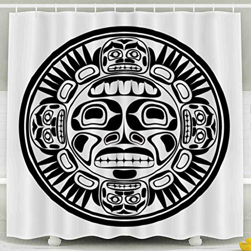 Jacrane Farmhouse Shower Curtain, Waterproof Fabric Long Shower Curtains Liner with Hooks Bathroom Décor The Sun Symbol Modern North American Canadian Native Art in Black White 78X72Inch