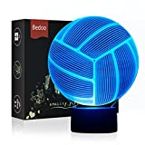 LED Night Light 3D Illusion Bedside Table Lamp 7 Colors Changing Sleeping Lighting with Smart Touch Button Cute Gift Warming Present Creative Decoration Ideal Art and Crafts (Volleyball)