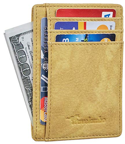 Travelambo Front Pocket Minimalist Leather Slim Wallet RFID Blocking Medium Size (Oldo -