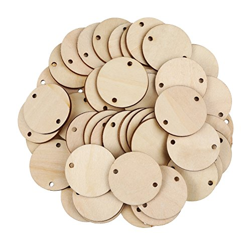 Bememo 100 Pieces Circle Wooden Tags Birthday Board Tags with 2 Holes for Birthday Board Chore Board DIY Crafts, 1.5 Inches Family Circle Crafts