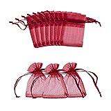 nbeads 100piezas bolsas de Organza de boda bolsas joyas, bolsas de muestras visualización bolsas de regalo cordón, 7x 5cm, Rojo oscuro