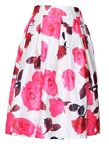 ebouriffer floral jupe Pink femmes cru Rose Blanc Helan Taille haute de 7WtnYw406q