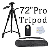 Professional 72-inch Tripod Center Pole 3-way Panhead Tilt Motion with Bubble Level Indicators for Canon, Nikon, Sony, Olympus, Pentax Cameras + Camcorders