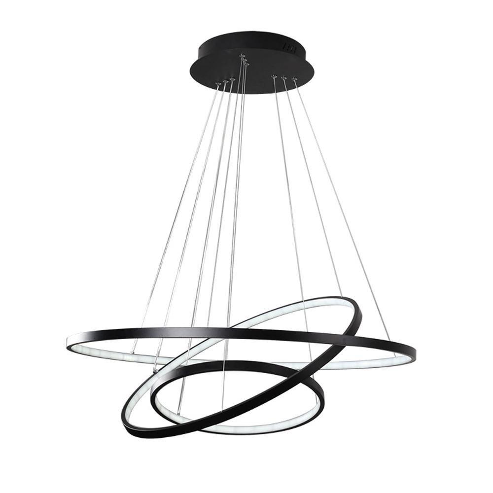 Modern LED Pendelleuchte, Dimmbar, Esstisch Hängelampe,Minimalistische Hängeleuchte, Wohnzimmerlampe, Pendel, Esszimmerlampe, Esstischlampe, Schlafzimmer Decke Pendellampe D60cm Schwarz, Warmweiß