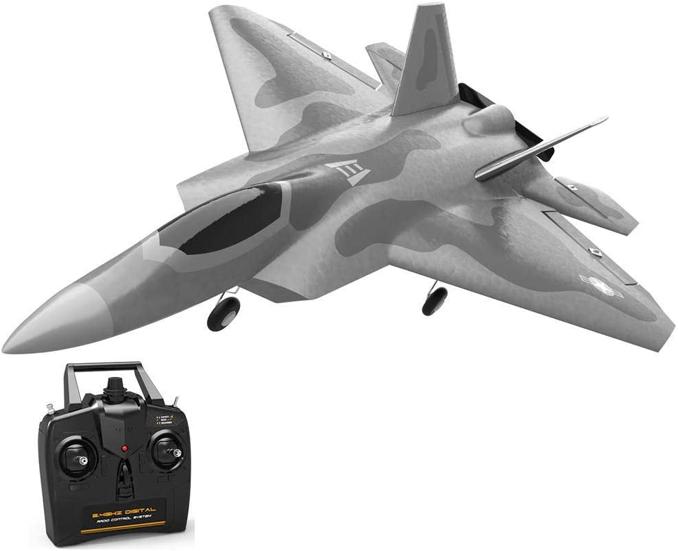 リモートコントロール飛行機 初心者のためのウィングRTFワンキーエアロバティック固定ミニF22ラプターEPP 260ミリメートル翼幅2.4G 4CH 6軸ジャイロRC飛行機ジェットトレーナーウォーバード (色 : 銀, サイズ : 3 batterries)