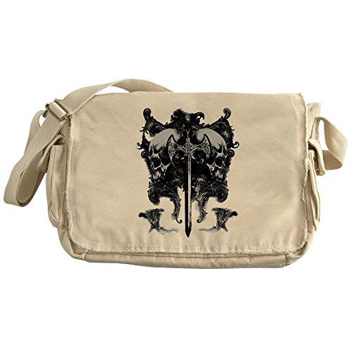 Royal Lion Khaki Messenger Bag Dragon Sword and Skulls Medieval