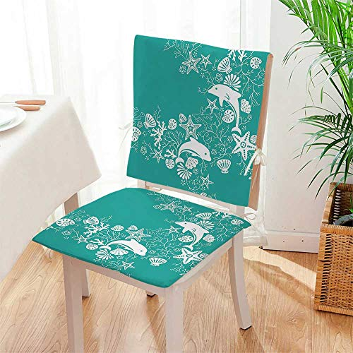 - Mikihome 2 Piece Set Chair pad Animals Decor Dolphins and Flowers Sea Floral Pattern Starfish Coral Seashell Wallpaper Pattern Garden Patio Home Chair Cushions Mat:W17 x H17/Backrest:W17 x H36