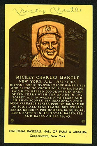 Yankees Mickey Mantle Authentic Autographed Signed 3.5X5.5 Hall of Fame Plaque Postcard Bas #A84737