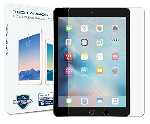 New Glass Screen - Tech Armor iPad Air Glass Screen Protector, Premium Ballistic Glass Apple iPad Air/Air 2 / NEW iPad 9.7 (2017) Screen Protectors [1]